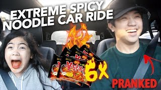 6X EXTREME SPICY NOODLE CAR RIDE (I CRIED) | Ranz and Niana