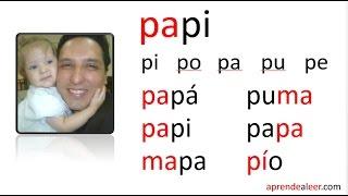 Silabas pa pe pi po pu - palabras con p y m para niños