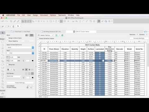 ARCHICAD 20 - Editing Properties in Interactive Schedules