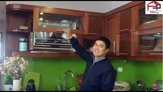 Công trình tủ bếp gỗ xoan đào hiện đại kèm phụ kiện thông minh nhà chú Phong Trung Kính- Hpro