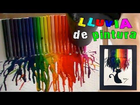 Cuadro con ceras o crayolas derretidas lluvia de pintura for Bombas de bano de lush