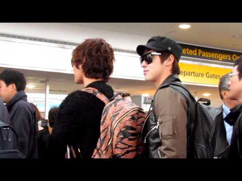 [HD] SJ, F(x), Kangta and HoMin at JFK airport leaving for Korea