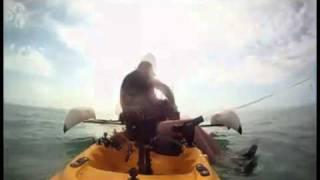 Un mec en kayak sauve un chien