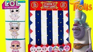 DISK DROP GAME LOL Surprise Dolls VS Trolls Chef Toy Surprises Boxes