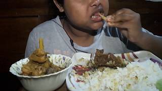 ASMR Indian food fish head  & chicken curry with rice (eating sound & no talking)