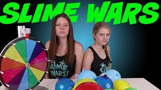 SLIME WARS MYSTERY WHEEL BALLOON POP SLIME CHALLENGE || Taylor and Vanessa