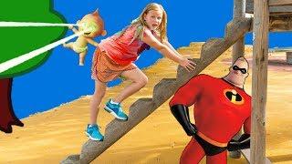Incredibles 2 Assistant Hunt in the Park for Jack Jack and Elastigirl and PJ Masks