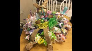 How to make a ruffle Easter Centerpiece perfect for using left over mesh