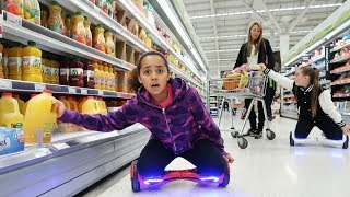 HOVERBOARD GROCERY FOOD SHOPPING CHALLENGE!!