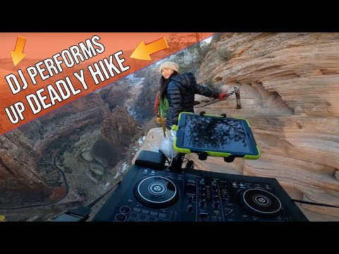 DJ performs up deadly hike [Angels Landing, Zion]