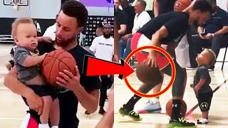 Stephen Curry teaches his 1-year old son Canon Curry on basketball lessons!