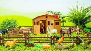 Learn Farm Animals Names and Sounds with Toy Animals for Kids