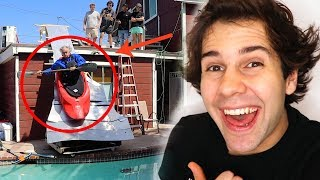 DAD BUILDS KAYAK SLIDE OFF OF HOUSE!!