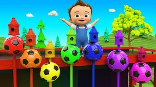 Little Baby Learning Colors for Children with Color Soccer Balls Wooden Pecker Toy Set 3D Kids Edu - YouTube