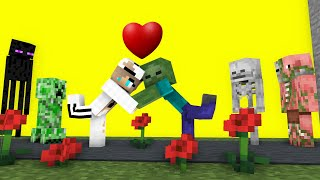Monster School : Zombie Love Story (Part 1) ❤️ Start Love - Minecraft Animation