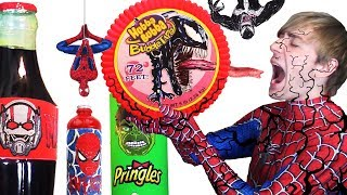 Do NOT Eat VENOM Hubba Bubba 😫 DIY Superhero Food & Drinks Spiderman, Hulk, Antman - Giant Food