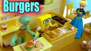 Calico Critters Burger Fries Cafe Playset Queen Elsa Frozen Spongebob Fast Food Restaurant Review