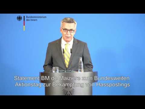 """""""Verbaler Gewalt Grenzen setzen"""" - Minister #deMaizière zu den heutigen Polizeiaktionen gegen #Hassposting"""