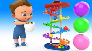 Learn Colors for Children with Baby PingPong Balls Wooden Slider Toy Set 3D Kids Toddler Educational