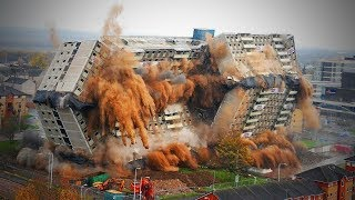 Buildings Demolition With Machinery and Technology    Video Satisfying Chimney Demolition