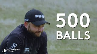 Andy Sullivan tries to make a hole-in-one with 500 balls