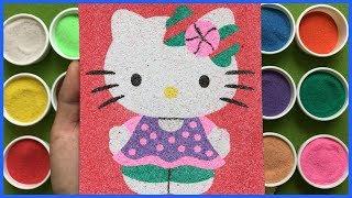 Đồ chơi trẻ em TÔ MÀU TRANH CÁT MÈO HELLO KITTY mặc váy, Colors Sand Paiting Hello Kitty (Chim Xinh)