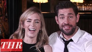 Emily Blunt & John Krasinski Reveal First Celebrity Crushes, Childhood Movie Favorites & More! | THR