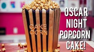 How To Make a POPCORN BOX CAKE for OSCAR NIGHT! Vanilla & Chocolate Cake with Gold Caramel Popcorn!