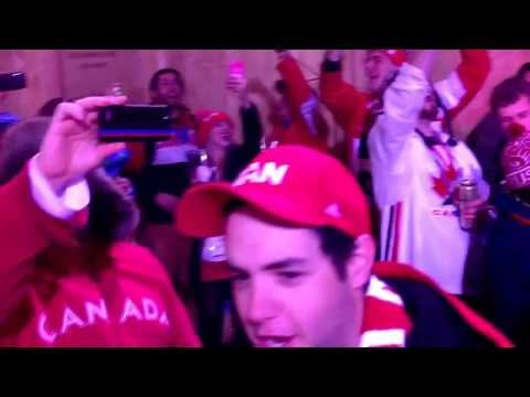 Singing 'Oh Canada' at the House of Switzerland at the Sochi 2014 Olympic Winter Games.