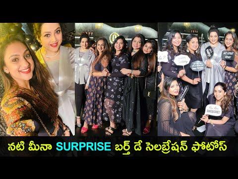 Actress Meena surprise 45th birthday celebration photos - Sneha, Pritha Hari