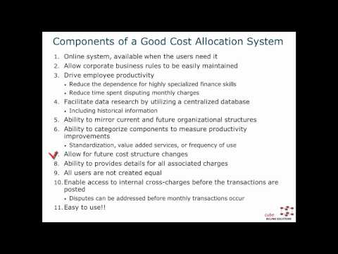 Needed Components within a Cost Allocation System
