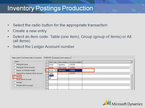 Dynamics AX 2009 Inventory Postings Production Setup