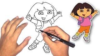 تعليم الرسم للاطفال | كيف ترسم دورا خطوة بخطوة how to draw dora ...