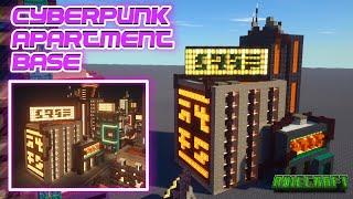 Minecraft Cyberpunk Base TUTORIAL - How to make Cyberpunk apartments in Minecraft - With Interior
