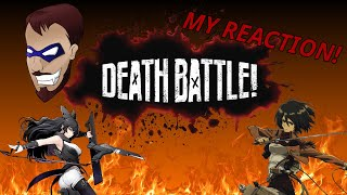 Death Battle Reaction - Blake Belladonna vs Mikasa Ackerman (RWBY vs Attack on Titan)