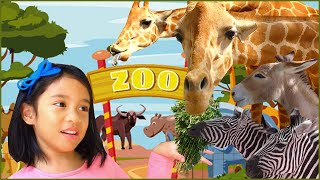 Girl Feeds Giant Zoo Animals Elephants, Giraffes, Zebras | Wild Animals for Kids and Family Part 2