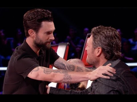 Adam Levine and Blake Shelton making goo goo eyes at each other for 7 minutes