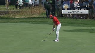 Tony Finau's enormous 297-yard approach shot leads to eagle (and shimmy)