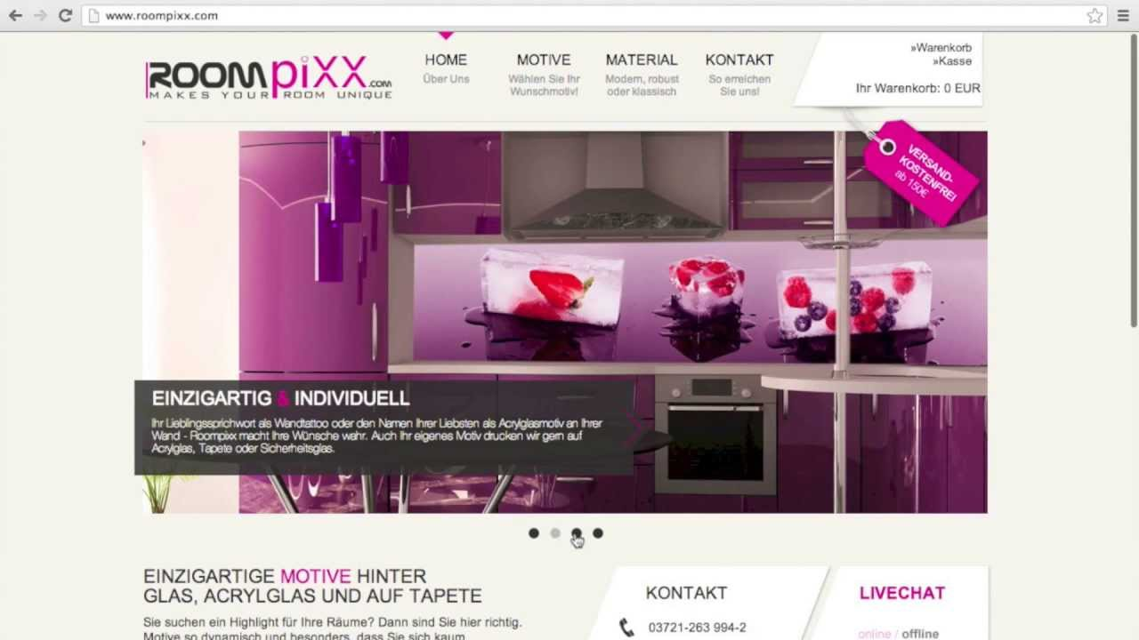 k chenr ckwand glas acrylglas so bestellen sie bei roompixx youtube. Black Bedroom Furniture Sets. Home Design Ideas