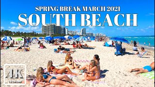 SPRING BREAK SOUTH BEACH 4K ULTRA HD 60FPS MIAMI BEACH FLORIDA USA  MARCH 2021 AΩ