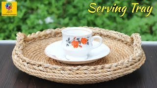 How to Make Serving Tray Using Jute Rope and Broken Plate | Jute Rope Craft Idea