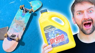 WE SOAKED A SKATEBOARD IN DRAINO FOR 24 HOURS!