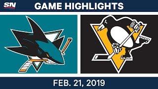 NHL Highlights   Sharks vs. Penguins- Feb 21, 2019