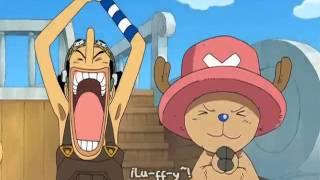 Luffy se burla del almirante aokiji