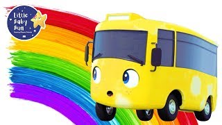 Rainbow Bus - Learn Colors | Go Buster | +More Nursery Rhymes and Baby Songs | Little Baby Bum