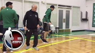 Gordon Hayward enters Celtics practice facility on crutches to address the media | NBA on ESPN