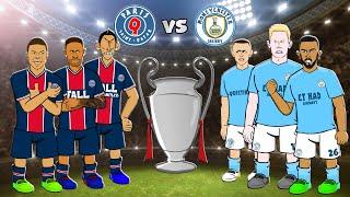 🛢️PSG vs Man City: Cartoon Highlights!🛢️ (De Bruyne Mahrez Goals Champions League Semi-Final)
