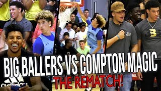 Big Ballers DOUBLE OT REMATCH vs COMPTON MAGIC! LaMelo IMPRESSES Lonzo & Swaggy P!