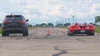 2018 Ford GT vs 1000 HP Jeep Trackhawk Drag Race