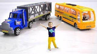 Max turned into a little boy and ride on Super Toy Cars